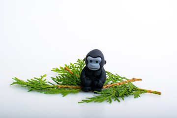 Gorilla rubber toys, cute animal shaped rubber doll isolated in white background.