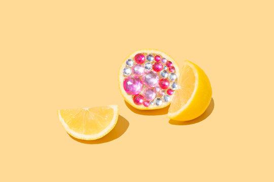Lemon Citrus Fruit Halved Gemstone