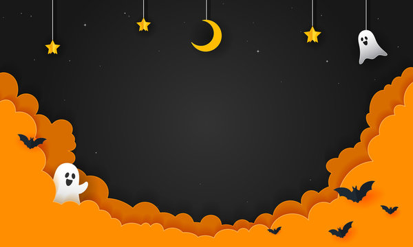 Halloween Night Background Vector illustration. Spooky ghost with night sky, paper art style