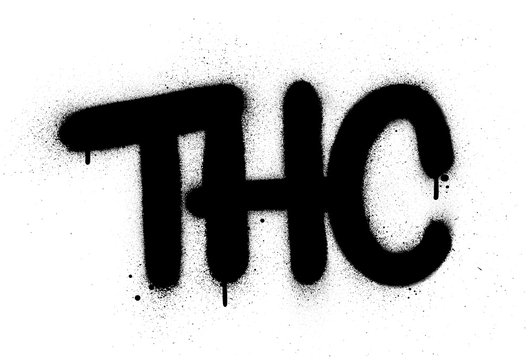 graffiti THC abbreviation sprayed in black over white