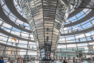 People visit the Reichstag dome at the German parliament in Berlin, Germany.