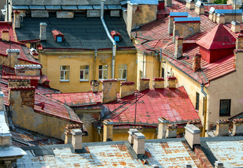 Aerial view of old roof