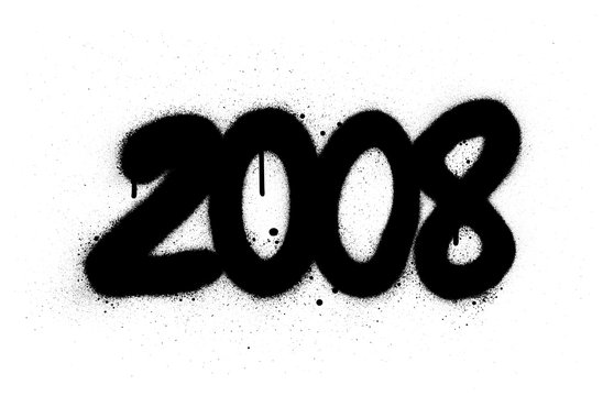 graffiti number 2008 sprayed in black over white