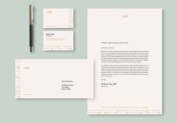 Stationery Set Layout with Geometric Line Accents