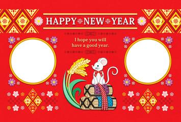 2020年・令和2年・2032年子年イラスト年賀状デザイン「鼠と米俵と稲穂フレーム2枠」HAPPY NEW YEAR