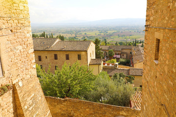 Beautiful glimpse view from old Italian city in Assisi, Umbria, Italy.