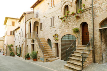 Beautiful Italian old city. Typical medieval architecture on street in the heart of Italy.
