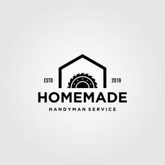 home industry grinding craftsman handyman vintage logo design illustration
