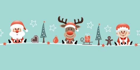 Wall Mural - Weihnachtsmann Rentier Und Freu Mit Icons Türkis