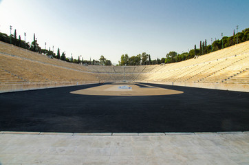 Athens, Greece - May 13, 2016: Panathenaic stadium or kallimarmaro is an athletic stadium that hosted the first modern Olympic Games in 1896