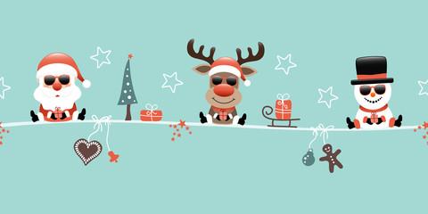 Wall Mural - Weihnachtsmann Rentier Und Schneemann Mit Sonnenbrille Icons Türkis