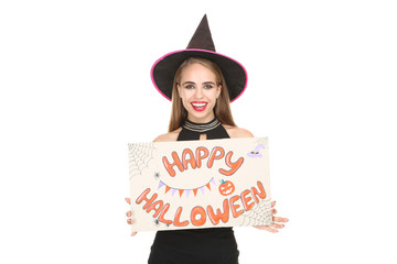 Beautiful woman in black costume with text Happy Halloween on white background Wall mural