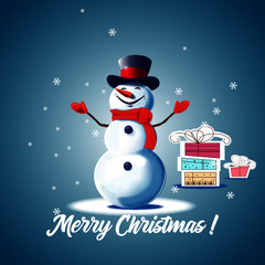 Christmas card with snowman and gifts. Snowman on a blue background. Christmas picture. Vector snowman with the words Merry Christmas.