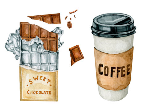 Watercolor hand drawn illustration of hot cappuchino and coffee, chocolate