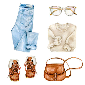 Watercolor hand drawn illustration of collection of casual clothes
