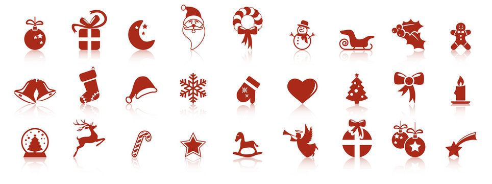 collection christmas icons with reflection