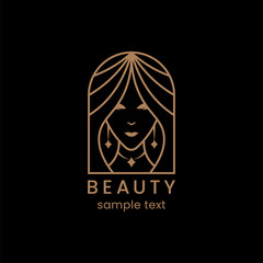 Beauty woman face logo. Symbol girl. Abstract design concept for beauty salon, magazine, cosmetic. Black background.