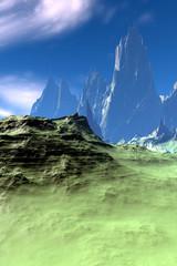 Alien Planet. Desert. 3D rendering
