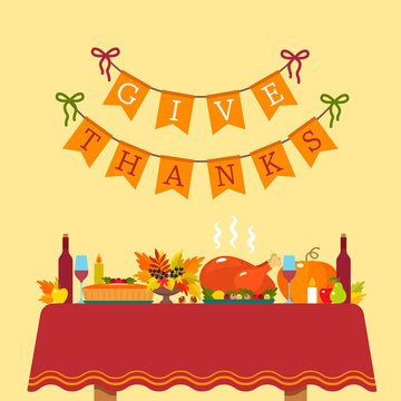Thanksgiving Greeting Card. a festive table with a tablecloth with baked turkey and pumpkin pie on the background of a congratulatory inscription.