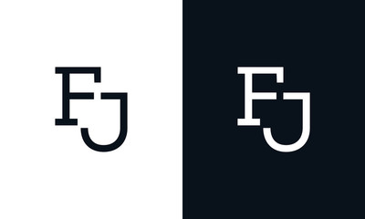 Minimalist line art letter FJ logo. This logo icon incorporate with two letter in the creative way.