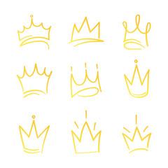 Hand drawn crowns logo set for queen icon, princess diadem symbol, doodle illustration, pop art element, beauty and fashion shopping concept