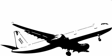 Artfully and ornate image of an aircraft in black and white colors optics