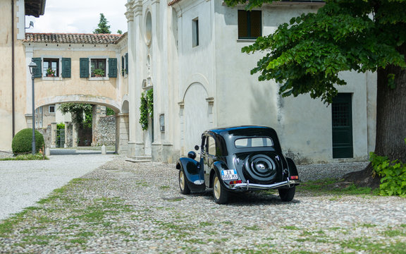 Strassoldo,Italy JUNE 4,2016:Photo of a CitroenTraction Avant 7c 1942. Revolutionary features that are still in use today: a unitary body , four-wheel independent suspension, and front-wheel drive.