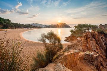 Fototapete - Costa brava landscape with rising sun