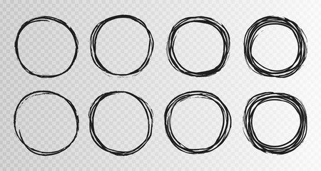 Hand drawn grunge circles sketch frame super set. Rounds scribble line circles. Vector illustrations