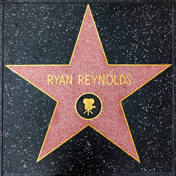 closeup of Star on the Hollywood Walk of Fame for Ryan Reynolds