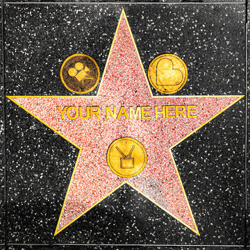 closeup of Star on the Hollywood Walk of Fame for tourists - your name here.