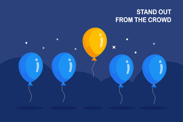 Stand out from crowd. Air balloons flying, circle and stars in background. Think differently concept. Vector flat design
