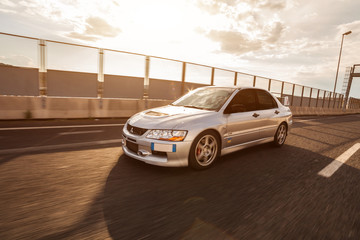 Trieste, Italy - SEPTEMBER 3, 2013: Photo of Mitsubishi EVO 8 .The Lancer Evolution 8 sedan features a newly designed 4B11T 2.0L (1998cc) turbocharged, all-aluminium inline-4 GEMA engine.