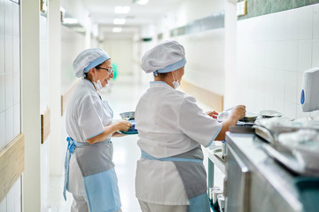 Hospital kitchen workers