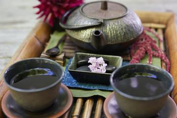 Japanese tea set on a Japanese tray