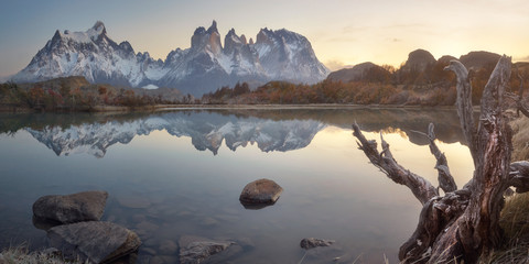 Pehoe Lake and Cuernos Peaks in the Morning, Torres del Paine National Park, Chile
