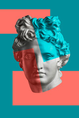 Contemporary art concept collage with antique statue head in a surreal style. Modern unusual art. - fototapety na wymiar