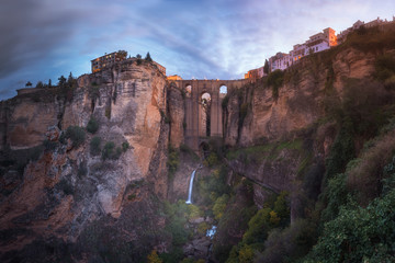 Fotomurales - Panorama of Puente Nuevo Bridge and Ronda in the Morning, Andalusia, Spain