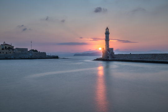 Lighthouse and Old Venetian Port in Chania at Sunset, Crete, Greece