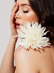 beauty image woman with white flower