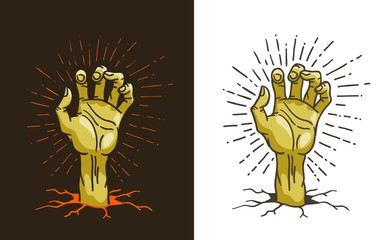 Dead hand sticking out of the ground - cartoon vector illustration. A zombie hand from hell.