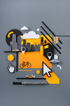 Illustration of transport in a city