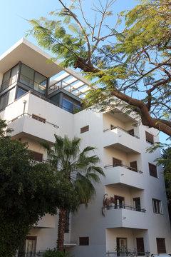 Bauhaus architecture building at Rothschild Boulevard in Tel Aviv, Israel