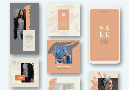 Pale Yellow and Orange Social Media Post Layouts with Brushstroke Elements