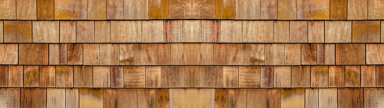 old brown rustic light bright wooden shingles texture - wood background panorama banner long