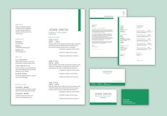 Resume and Business Card Set with Green Accents