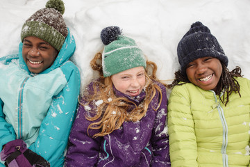 Giggling Friends in Snow