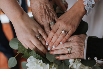 Wedding Rings of Generations of Women in Family