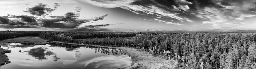 Latvian  nature. View from the top. Kangari lake in forest. Black and white.