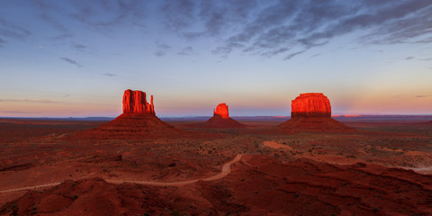 View of Monument Valley during sunset